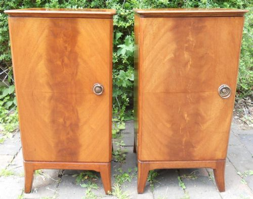Pair Flame Mahogany Bedside Cabinets